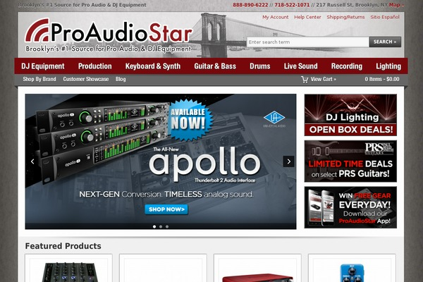 """Make a """"sound"""" decision and shop for your audio gear at ProAudioStar. The Brooklyn-based DJ and music gear shop caters to big-city musicians and to shoppers around the country who want low prices on name-brand equipment for live shows and studio sessions."""